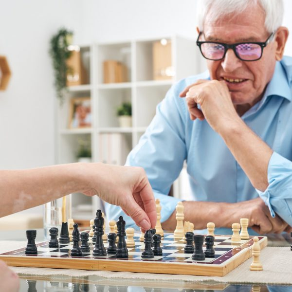 Playing chess with retired man